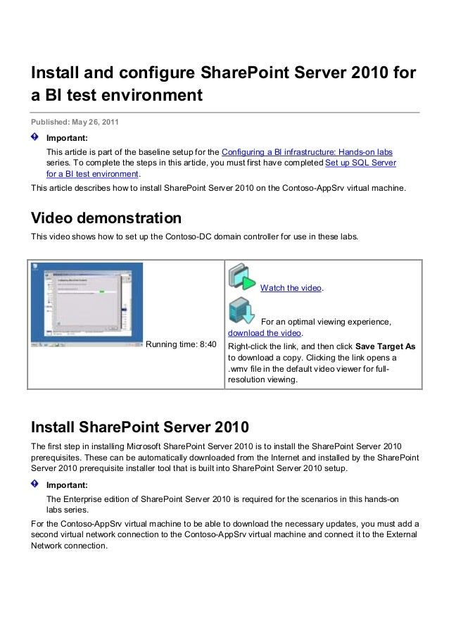 sharepoint 2010 prerequisites manual download