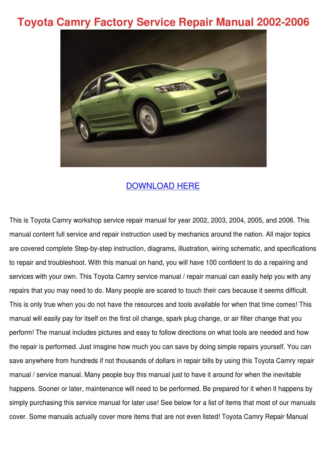 2012 toyota camry repair manual pdf